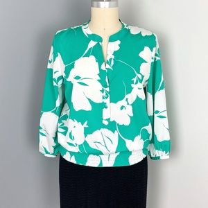 NY&Co Green White Floral Blouse
